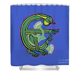Medieval Frog Letter E Shower Curtain