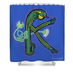 Medieval Frog Letter K Shower Curtain by Donna Huntriss