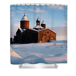 Medieval Saghmosavank Monastery Covered By Snow At Sunset, Armenia Shower Curtain