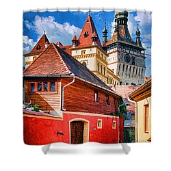 Medieval Sighisoara Shower Curtain by Dennis Cox WorldViews
