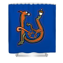 Medieval Squirrel Letter U Shower Curtain by Donna Huntriss