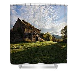 Medieval Tezharuyk Monastery During Amazing Sunrise, Armenia Shower Curtain by Gurgen Bakhshetsyan