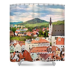 Shower Curtain featuring the digital art Medieval Village  by Shelli Fitzpatrick