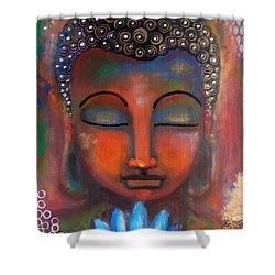 Meditating Buddha With A Blue Lotus Shower Curtain by Prerna Poojara