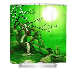 Meditating While Cherry Blossoms Fall In Green Shower Curtain by Laura Iverson