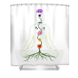 Meditating Woman With Chakras Shown As Flowers Shower Curtain