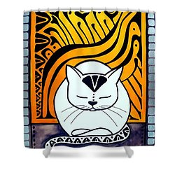 Shower Curtain featuring the painting Meditation - Cat Art By Dora Hathazi Mendes by Dora Hathazi Mendes