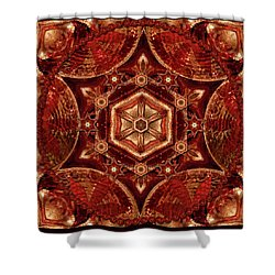 Shower Curtain featuring the digital art Meditation In Copper by Deborah Smith