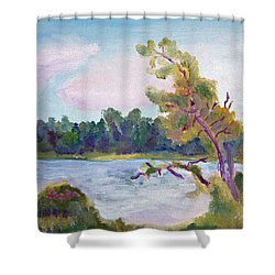 Meditation Lake  Shower Curtain