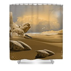 Shower Curtain featuring the digital art Meditation Place by Alexa Szlavics