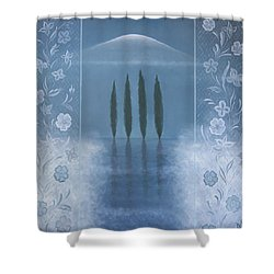 Shower Curtain featuring the painting Meditation by Tone Aanderaa