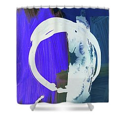 Meditation, White Enso, The Breakthrough Shower Curtain by Amara Dacer