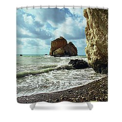 Mediterranean Sea, Pebbles, Large Stones, Sea Foam - The Legendary Birthplace Of Aphrodite Shower Curtain