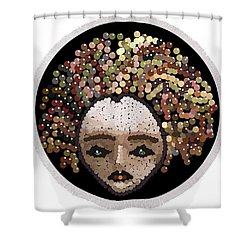 Medusa Bedazzled Round Beach Towel Shower Curtain