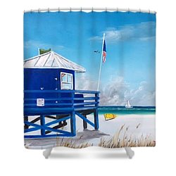 Meet At Blue Lifeguard Shower Curtain