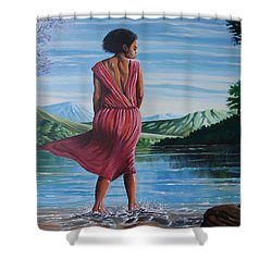 Shower Curtain featuring the painting Meet Me At The River by Anthony Mwangi