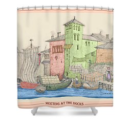 Meeting At The Docks Classic Shower Curtain by Donna Munro