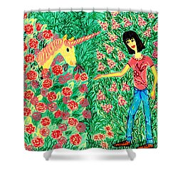 Meeting In The Rose Garden Shower Curtain by Sushila Burgess