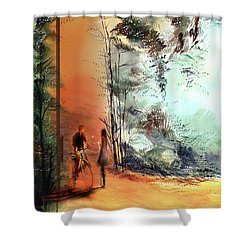 Shower Curtain featuring the painting Meeting On A Date by Anil Nene