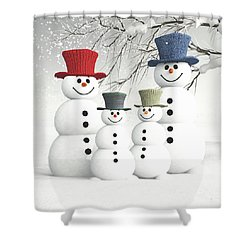 Meeting The Snowmen Family Shower Curtain
