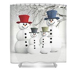 Meeting The Snowmen Family Shower Curtain