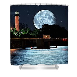 Mega Super Moon Rising Over Jupiter Lighthouse Shower Curtain