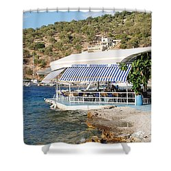 Meganissi Beach Taverna Shower Curtain