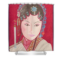 Mei Ling -- Portrait Of Woman From Chinese Opera Shower Curtain