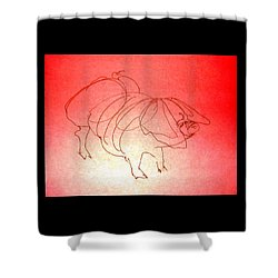 Shower Curtain featuring the drawing Meishan Sow 3 by Larry Campbell