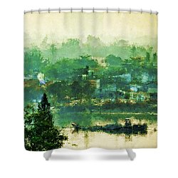 Shower Curtain featuring the digital art Mekong Morning by Cameron Wood