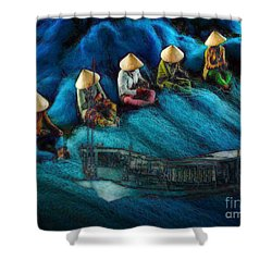 Shower Curtain featuring the painting Mekong Weavers by Mojo Mendiola
