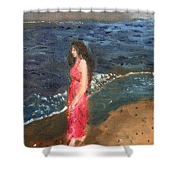Shower Curtain featuring the painting Melancholy by Michael Helfen