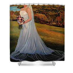Shower Curtain featuring the painting Melissa by Alan Lakin