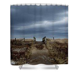 Shower Curtain featuring the photograph Melmerby Beach Boardwalk by Kathleen Sartoris
