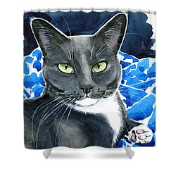 Melo - Blue Tuxedo Cat Painting Shower Curtain