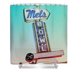 Mels Bowl Retro Sign Shower Curtain