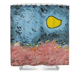 Shower Curtain featuring the painting Melting Moon Over Drifting Sand Dunes by Ben Gertsberg