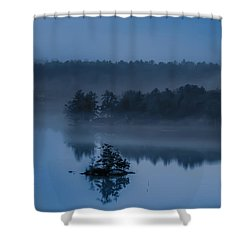 Melvin Bay Blues Shower Curtain