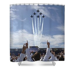 Shower Curtain featuring the photograph Members Of The U.s. Naval Academy Cheer by Stocktrek Images