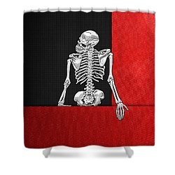 Memento Mori - Skeleton On Red And Black  Shower Curtain