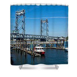 Memorial Bridge Portsmouth Shower Curtain by Kevin Fortier