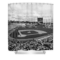 Memorial Day At Kauffman Stadium Bw Shower Curtain