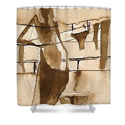 Shower Curtain featuring the painting Memories From Childhood by Maya Manolova