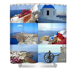 Memories From Santorini Shower Curtain by Ana Maria Edulescu