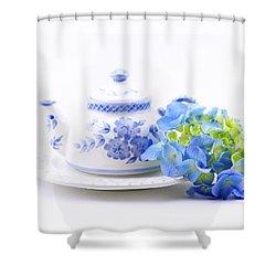 Memories In Blue Shower Curtain