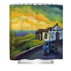 Shower Curtain featuring the painting Memories Neath A Yellow Sky by Retta Stephenson