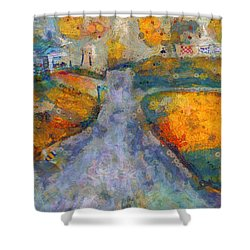 Shower Curtain featuring the painting Memories Of Home In Autumn by Claire Bull