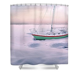 Shower Curtain featuring the photograph Memories Of Seasons Past - Prisoner Of Ice by John Poon