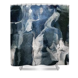 Memory Hotel - Dark Canvas Abstract Art Shower Curtain
