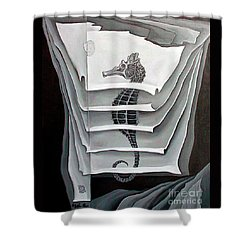 Shower Curtain featuring the painting Memory Layers by Fei A